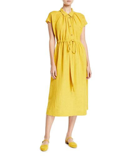 Cap-Sleeve Drawstring-Waist Shirtdress
