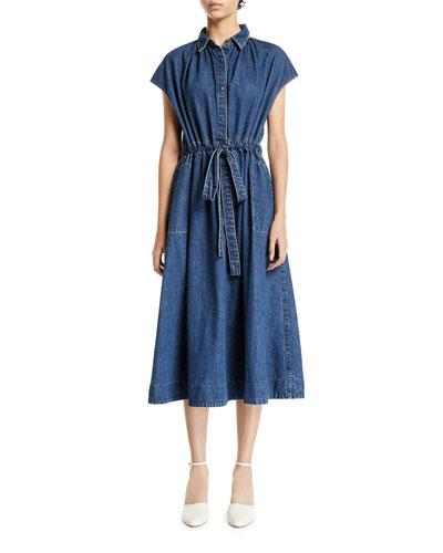 Cap-Sleeve Drawstring-Waist Denim Shirtdress