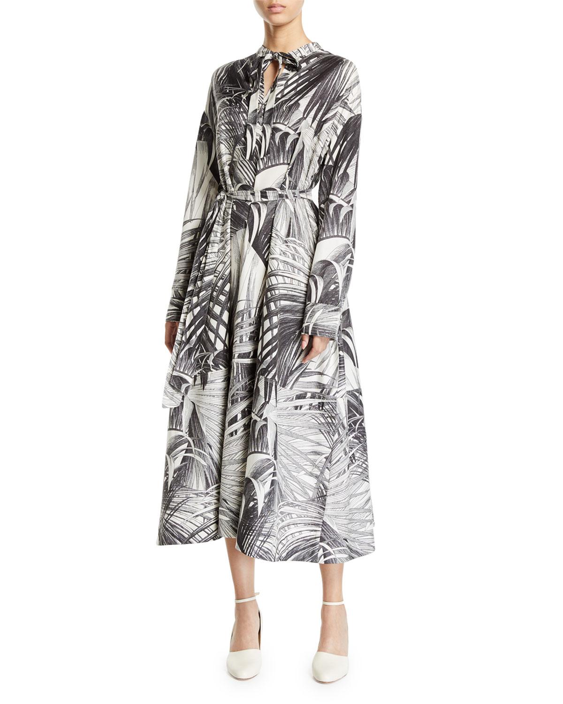 Co Dresses LONG-SLEEVE PALM PRINT TIE NECK DRESS