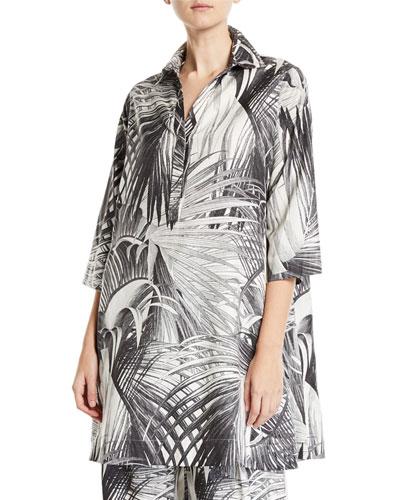 Long-Sleeve Palm Print Tunic