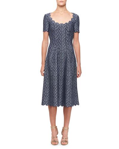 Camee Circle-Print Scallop-Trim Midi Dress