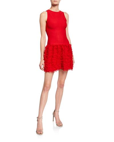 Houpette Ruffled Skirt Sleeveless Dress