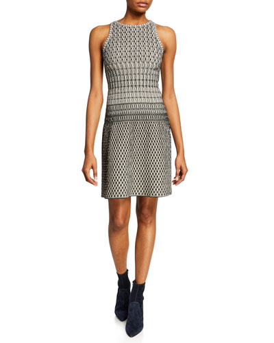 Optical Illusion-Print Sleeveless Dress
