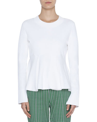 Jersey Pullover Flounce-Hem Top