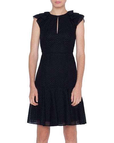 Keyhole-Neck Fil Coupe Dress