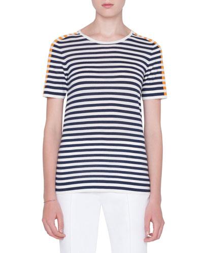Striped Wool-Knit T-Shirt