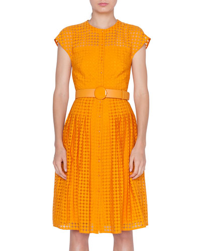 Belted Dotted Lace Illusion Dress