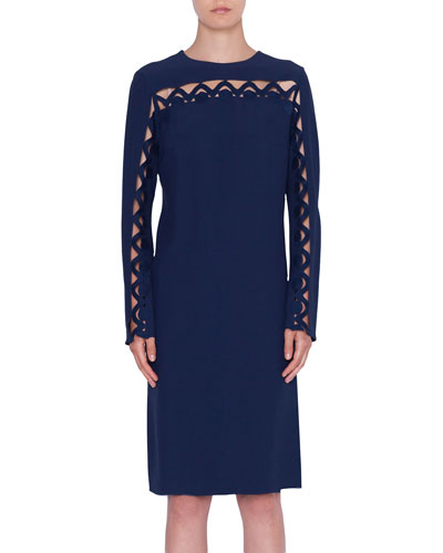 Scalloped-Wave Inset Long-Sleeve Dress