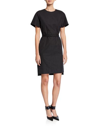 Crewneck Poplin Shift Dress