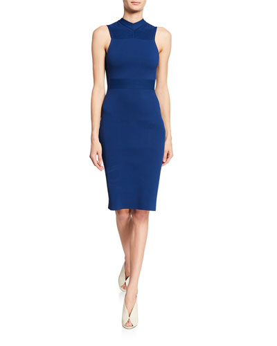 Sleeveless High-Neck Bodycon Dress