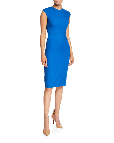9499e6cba19 Wool Twill Wave-Stitch Cap-Sleeve Dress Quick Look. Narciso Rodriguez