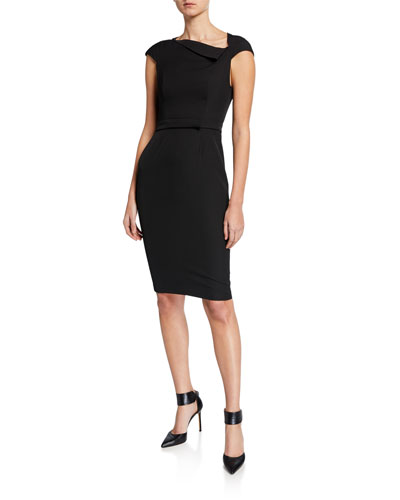 Draped-Neck Zip-Back Sheath Dress