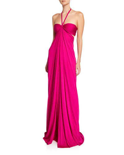 df28e7c4a8 Halter Side Cutout Gown