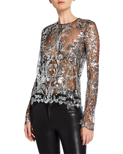 Long-Sleeve Semisheer Embellished Illusion Top