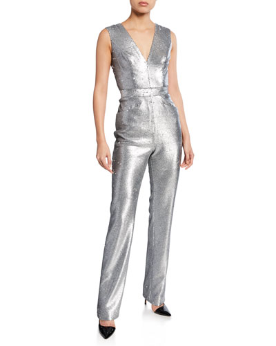 Sequined Plunging-Neck Jumpsuit