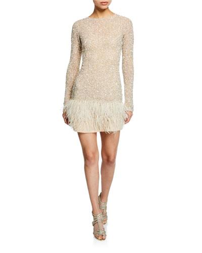 Long-Sleeve Hand Embellished Feather-Hem Dress