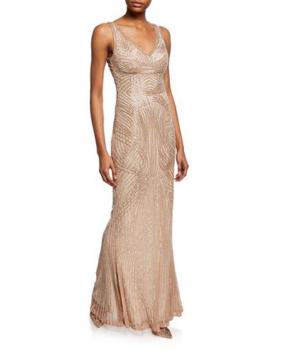 Hand-Embellished V-Neck Gown