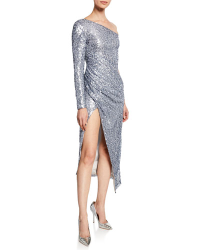 Mammounia Sequined One-Shoulder High-Slit Dress