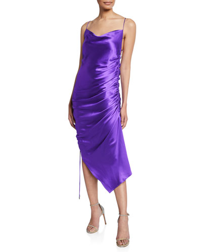 Yasmine Ruched Satin Open-Back Cocktail Dress