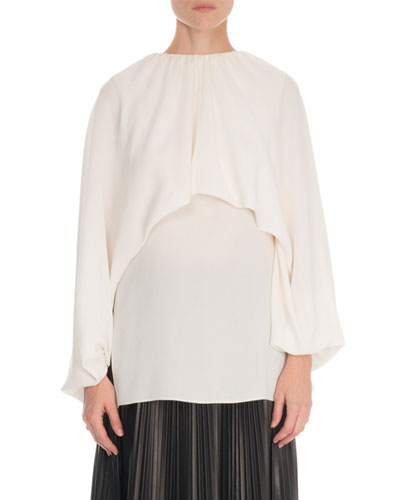 Long-Sleeve Gathered Georgette Shirt