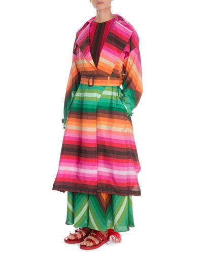 Striped Silk Trench Coat