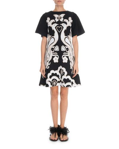 Short-Sleeve Peacock-Jacquard Fenice-Knit Dress