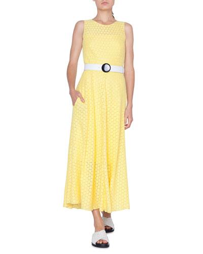 Belted Dot Lace Midi Dress