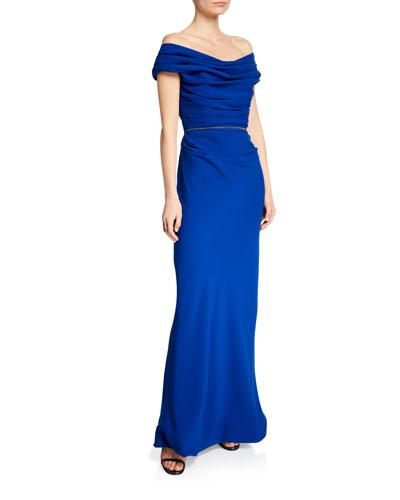 Ruched Off-The-Shoulder Silk Crepe Dress