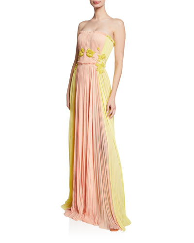 Two-Tone Floral Embroidered Gown