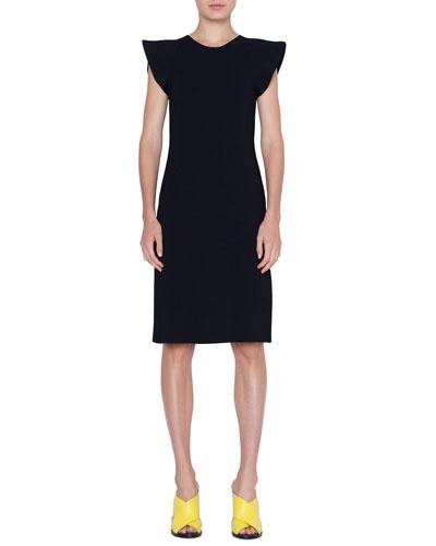 Wave-Shoulder Knit Dress