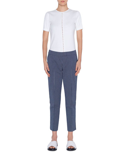Frankie Pinstriped Cropped Mid-Rise Pants