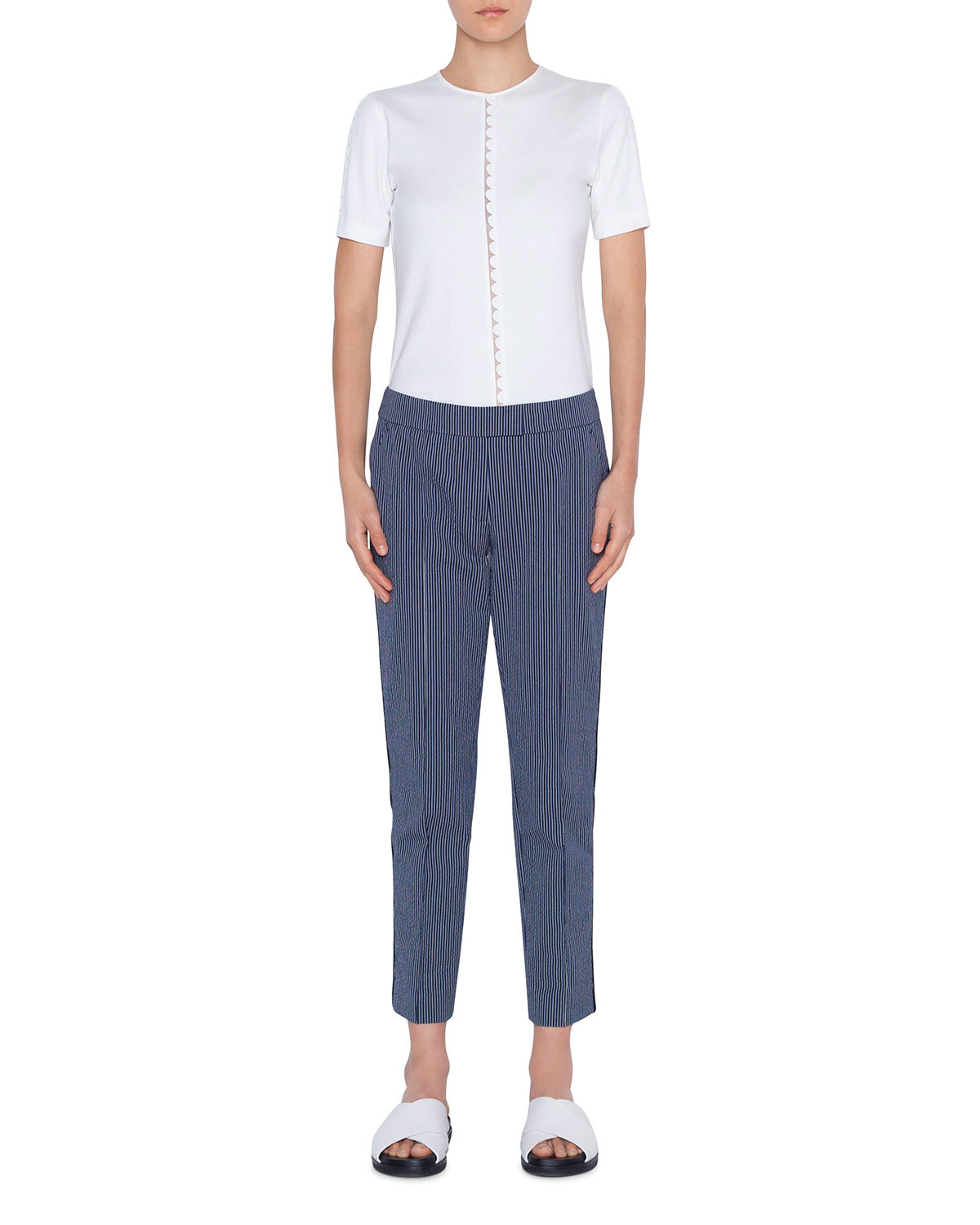 Akris Punto Pants FRANKIE PINSTRIPED CROPPED MID-RISE PANTS