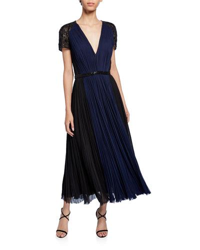 Embellished Deep V Cocktail Dress