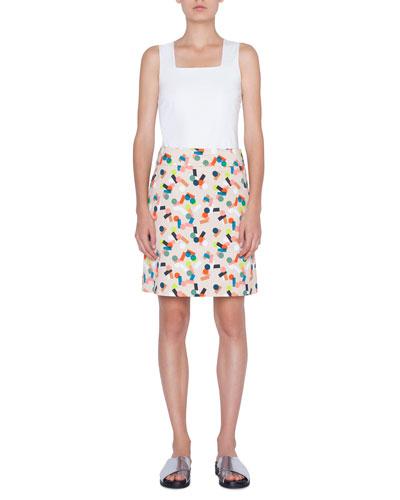 Memphis Printed Stretch-Cotton A-line Skirt