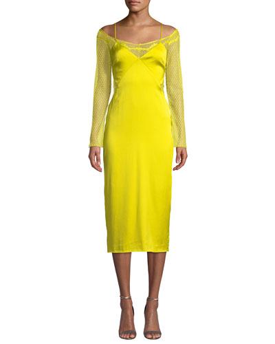 Lace-Sleeve Satin Slip Dress