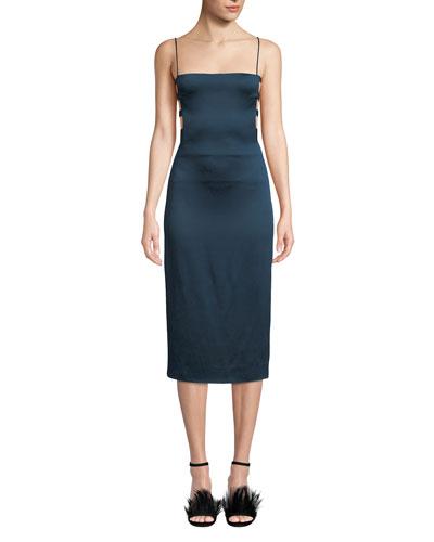 Square-Neck Banded-Side Pencil Dress