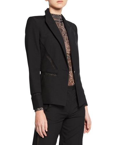 Lace-Trim Tailored Wool Blazer