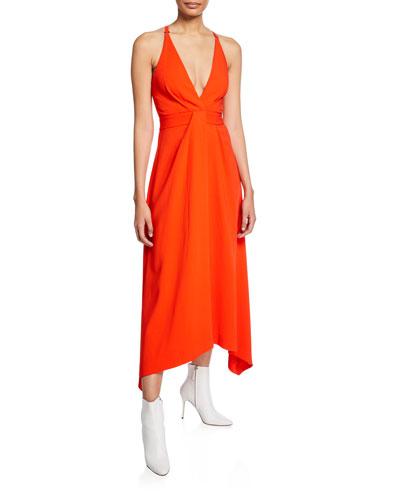 Asymmetric V-Neck Midi Dress