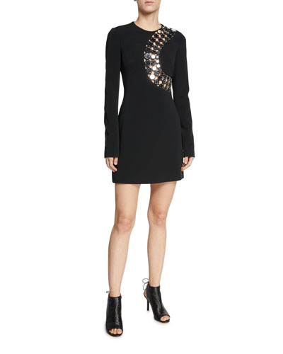 Long-Sleeve Hardware-Trim Lasercut Mini Dress