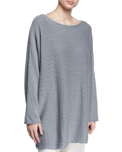 Slim-Sleeve Sideways Knitted Sweater
