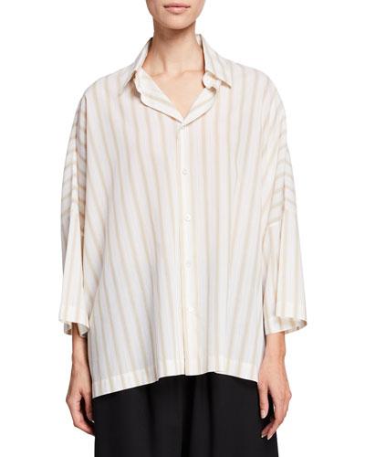 Striped Sloped-Shoulder Button-Front Shirt