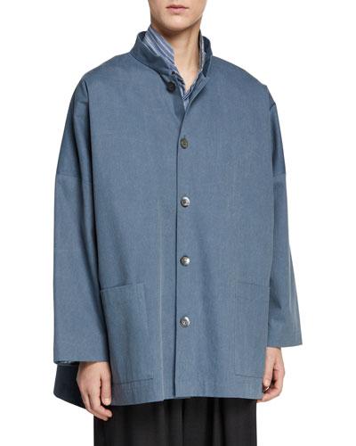 Mandarin-Collar High-Low Top