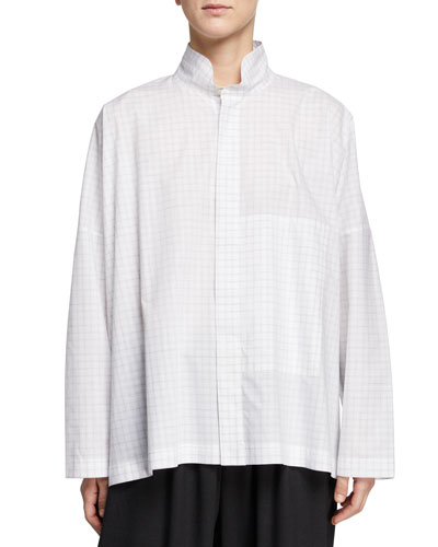 Double-Collar High-Low Shirt