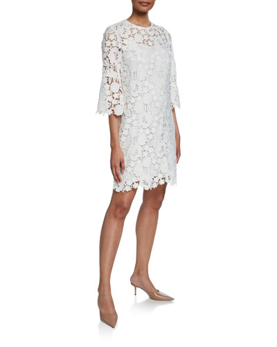 Flutter-Sleeve Lace-Illusion Tunic Dress