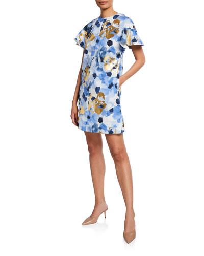 5fb96d6e87c Lela Rose Dress. Flutter-Sleeve Floral Print Tunic Dress
