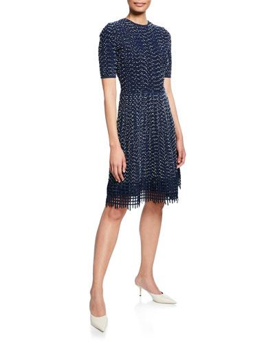 Grid Lace-Hem Knit Dress