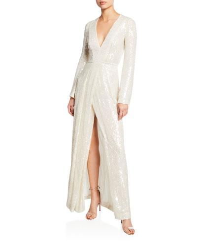 Long-Sleeve Sequin-Embroidered Gown