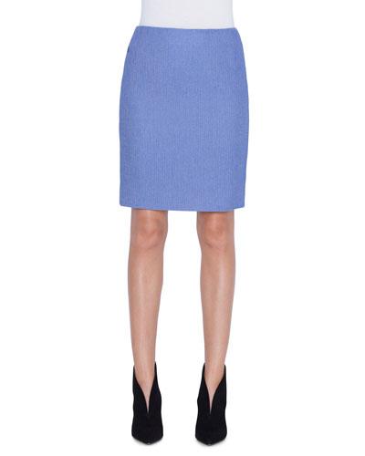 Wool-Cotton Pique Pencil Skirt