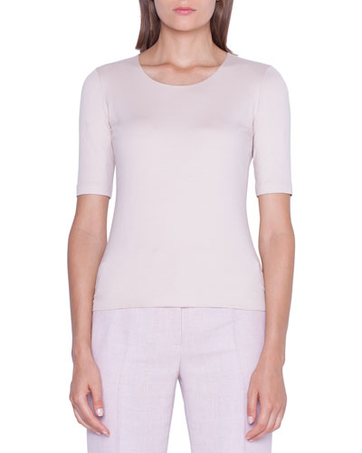 1/2-Sleeve Scoop-Neck Tee