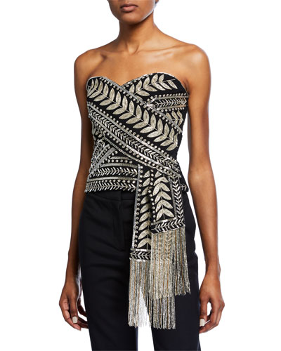 Strapless Crossover Embroiderered Top
